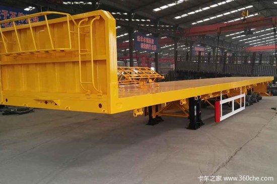 梁山盛源 13米 轻量化 平板式运输半挂车 {自重5.5吨,包拉55吨}